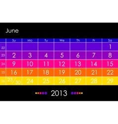 2013 June vector image vector image