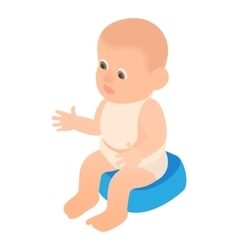 Boy sitting on the potty icon cartoon style vector image