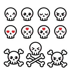 Kawaii cute Halloween skull icons set vector image vector image