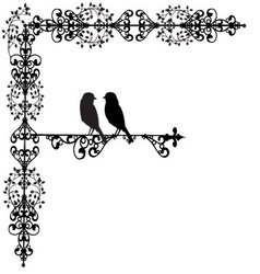 ornament two bird in love vector image