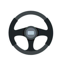 sports car steering wheel icon flat style vector image