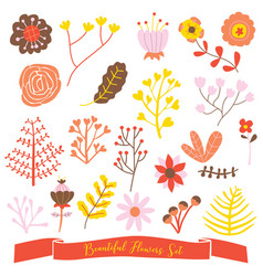 beautiful flowers set cute doodle vector image