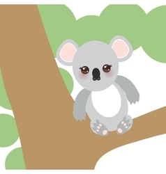 Funny cute koala sitting on a branch of a large vector image vector image