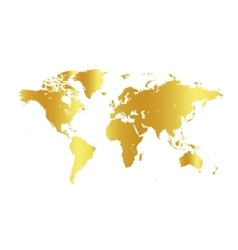 Golden color world map on white background globe vector