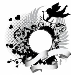 grunge background with cupid vector image vector image