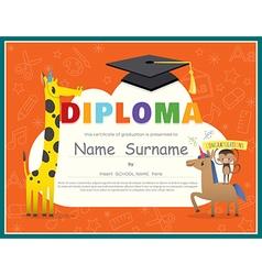 Primary School Kids Diploma certificate vector image vector image