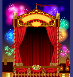Puppet show booth with theater masks red curtain vector