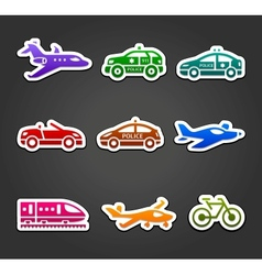 Set of sticky stickers transport color pictograms vector image vector image