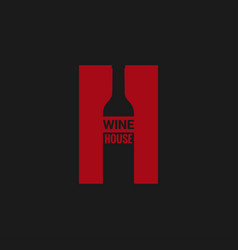 wine bottle logo wine house red label on black vector image vector image