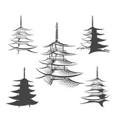 asian pagoda or buddhist house set vector image vector image