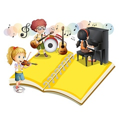 Children playing musical instrument vector image vector image
