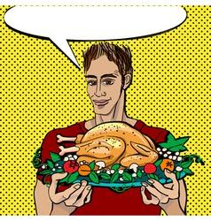 pop art thanksgiving vector image vector image