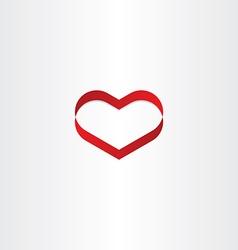 red heart ribbon banner symbol vector image