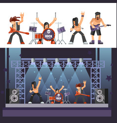 rock music rockers band performing on stage singer vector image vector image