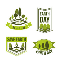 save planet earth day green ecology icons vector image
