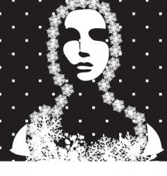 winter portrait black and white vector image