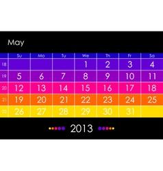 2013 May vector image vector image