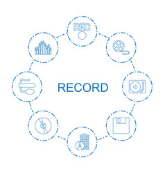 8 record icons vector