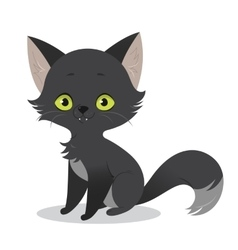 A cute happy cartoon black cat vector