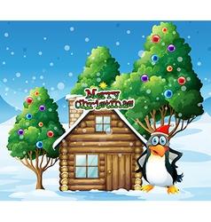 A penguin celebrating christmas vector