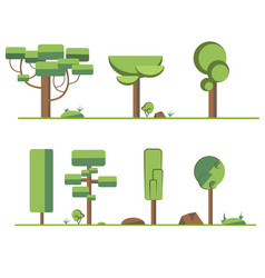 a set of stylized trees and bushes in the summer vector image