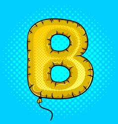 Air balloon in shape of letter b pop art vector