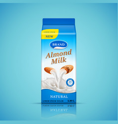 almond milk packaging design liquid pours down vector image