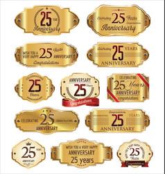 Anniversary golden labels 25 years vector