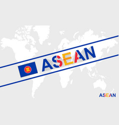 Asean flag and text vector