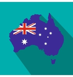 Australia map with the image of the national flag vector image