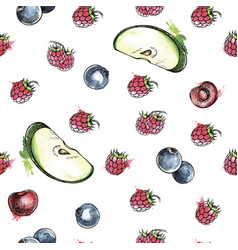 Berries and fruits seamless pattern vector