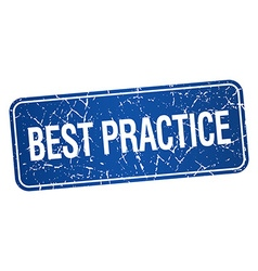 Best practice blue square grunge textured isolated vector