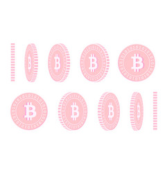 Bitcoin internet currency rotating coins set ani vector