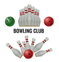 Bowling club logo design of equipment for play vector