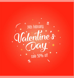 bright sales flyer with hearts for valentines day vector image