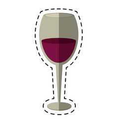 Cartoon glass cup wine drink vector