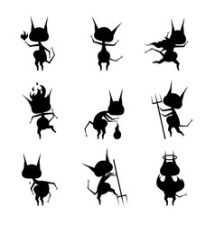 cartoon silhouette black characters devil set vector image