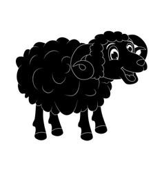 Cartoon silhouette ram design isolated on white vector