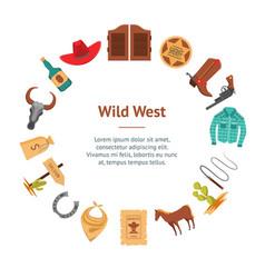Cartoon wild west signs banner card circle vector
