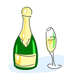 Champagne bottle glass vector image