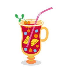 Christmas punch with berries and fruits vector