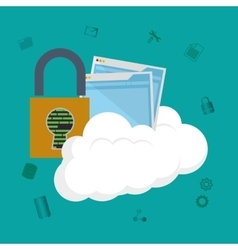 Cloud computing padlock web hosting design vector