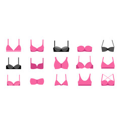 collection different types bras icons vector image