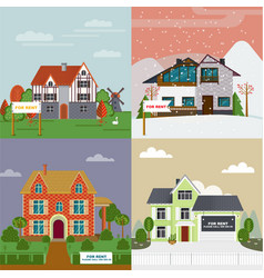 Colorful villas and cottages flat set vector