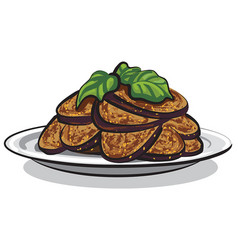 Cooked roasted eggplants vector