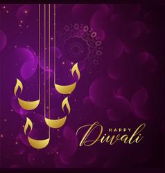 creative golden diwali diya design on purple vector image