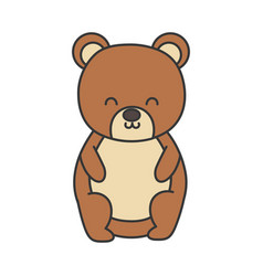 cute bear toy sitting on white background vector image