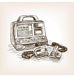 Defibrillator sketch style vector