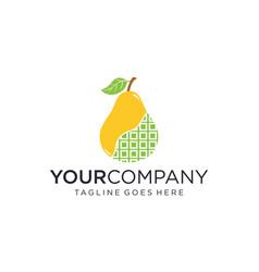 Digital pear fruit for logo design editable vector