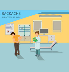 Doctor examines patient with back pain vector